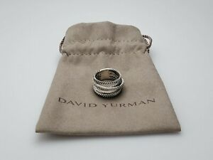 David Yurman Crossover Wide Ring with Pave Diamonds Size 6