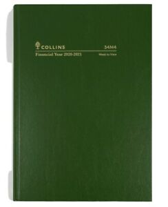 Collins 2020 - 2021 Financial Year Diary A4 Week to View Green Hardcover 34M4