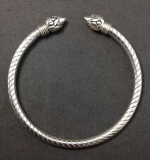 Tribal Artisan Lotus Sterling Silver 925 Etched Bangle Cuff Oxidized Bracelet