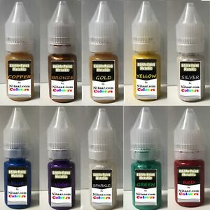 100% PURE Edible Colours Metallic Paints Cake Craft Decorating Food Colouring