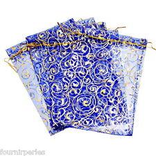 25 pcs 13.5x19.5cm Sachets Pochettes Cadeau Organza Fête Bijoux Bleu Marine