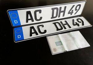 2 Autokennzeichen in 460mm x 110mm + KFZ Schein Hülle, Wunschkennzeichen kurz