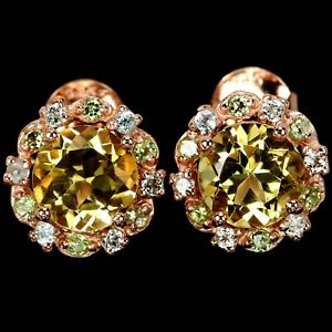 NATURAL AAA ORANGISH YELLOW CITRINE & WHITE CZ STERLING 925 SILVER STUD EARRING
