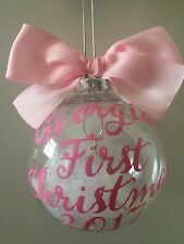 Baby's First Christmas Bauble Personalised Boys Girls 1st Xmas Decoration 2017