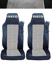 2x IVECO STRALIS Coprisedili Fatti su misura Logo Camion Furgone Nera/Grigio DE