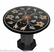 "23"" Black Marble Dining Table Top Handmade Mosaic Corner Table With Stand Decor"