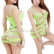Green Cross Stripe Cutout Bodysuit Stocking Nighties Babydoll Lingerie Dress J