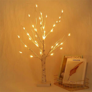 White Easter Birch Tree LED Light Up Twig Tree Xmas Decorations Desk Table Lamp