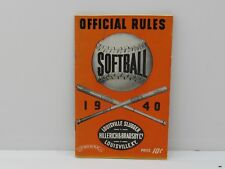 1940 Official Rules for the Game of SOFTBALL by Louisville Slugger