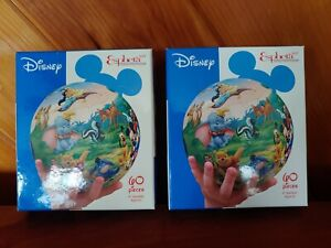 Disney Esphera 60 PC Jigsaw Puzzle Cast of Characters 3D Plastic Ball Lot of Two