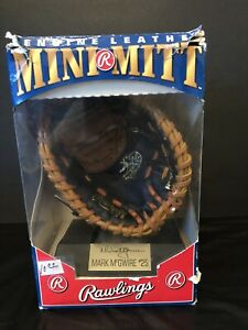 1991 MARK McGWIRE Rawlings Genuine Leather MINI MITT with Stand in Original Box!