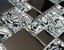 NEW LUXURY ZEBRA PATTERN BLACK WHITE SILVER CHROME MOSAIC TILES 8MM - RRP £16