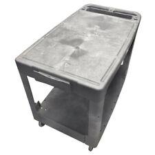 Flat Top Plastic Service Utility Cart 2 Flat Shelves 500 Lb Capacity
