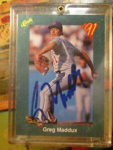 cubs greg maddux signed 1991 classic card