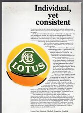 Lotus 'Individual Yet Consistent' 1991 UK Market Foldout Sales Brochure