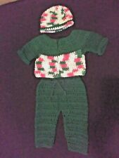 Hand Crocheted Christmas Baby Sweater, Hat and Pants
