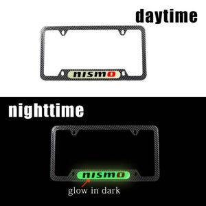 1x JDM Nismo Glow In The Dark Green Logo Carbon Fiber Metal License Plate Frame