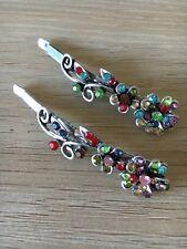 1 Pair Flower Metal Multi Silver Women's Girls Hair Clips Hair Pins Accessory
