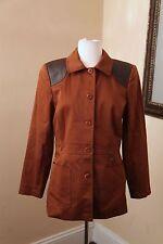 Doncaster Brown / Black Leather Trim Jacket Blazer Size 8 Utility Style