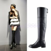Womens Real Leather Flats Riding Casual Over The Knee High Boots Winter Boots sz
