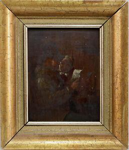 99860210 Gemälde Otto Vermehren, Brieflesendes Paar datiert 1890 25x22cm