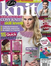 Let's Knit Magazine Vintage Sweater Blanket And Throw Cable Poncho Beret Cowl
