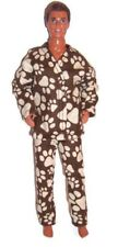 Brown/Beige Paw Print Flannel Pajamas-Doll Clothes