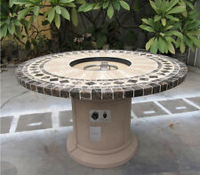Outdoor Gas Fire Pit Dining Table w/ Emperador Dark Marble Inlay Top Backyard
