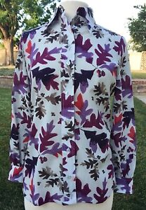 VTG '70 VERA NEUMANN SIGNATURE BLOUSE JEWEL TONES LEAF DESIGN BUTTON FRONT SZ 10