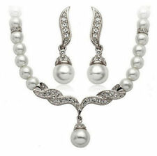 Pearl Clear Rhinestone Crystal Necklace Earrings Set Bridal Prom Silver Wed N1