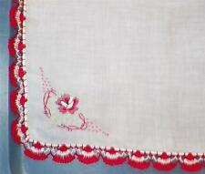 Lovely White Linen Hankie with Embroidered Flower Red & White Crocheted Edge