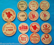 Set 7 Ficha PARTIDO POPULAR 1985 - 2012 ELA PUERTO RICO Political Wooden Nickel