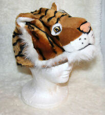 TIGER HAT awesome furry animal cap ADULT mens womens halloween COSTUME HEAD MASK