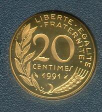 TOP RARE MONNAIE DE 20 CENTIMES LAGRIFFOUL BELLE EPREUVE 1991 FDC @ BE @ RARE