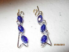 1 Pair Dark Blue AB Sterling Silver Filled Ear Vines, Sweeps, Pins Earrings  #6