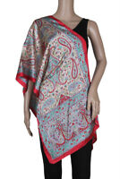 """Indian Art Silk Printed Stole Scarf Scrave Viel Wrap 20"""" x 70"""" Satin Fabric Red"""