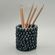 Skull Pen Pencil Desktop Head Makeup Brush Holder Organizer Goth Halloween Art