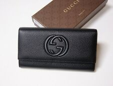 New Authentic Gucci Soho Black Leather Continental Wallet Clutch