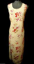 KATHIE LEE Dress Set womens 10 Peach Red chiffon Maxi & Shrug boho Floral Summer