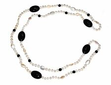 White Freshwater Cultured Pearl with Black Onyx - Long Necklace