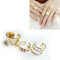 3Pcs Cut Above Knuckle Smooth Band Midi Mid Finger Top Stacking Split Rings Set
