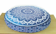 Indian Blue Ombre Cotton mandala Round Cushion Cover Floor Pillow Case Pouf 35""