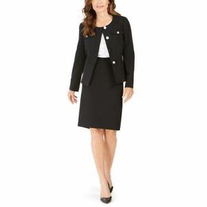 LE SUIT NEW Women's Black Petite 4-button Slim Skirt Suit Two-Piece 12P TEDO