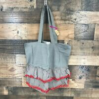 "Natural Life New With Tags Grey Tote Bag with Grey Ruffle & Red Trim 20""x15"""