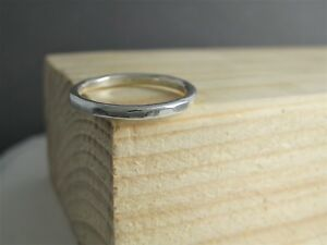 2mm Sterling Silver 925 Hammered/Faceted Stacking Ring Sizes H-Z Handmade In UK