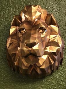 Gold Lion Head Bust Modern Geometric Design Lion Wall Feature