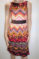 ORIENTIQUE Brand Multi Printed Sleeveless Day Dress Size 8 BNWT #SS53