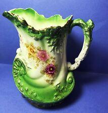 "Antique Luster ware Green floral Pitcher Allertons England - 8"" 1890-1912"