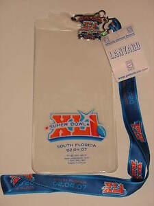 NFL Super Bowl XLI 41 Bears Colts Game Ticket Holder Lanyard Pin Peyton Manning