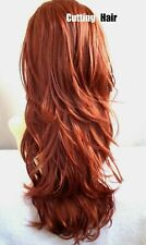 CUTTING HAIR - Sexy Copper Red 3/4 Wig Layer Wavy Long  Layered Half Wig 025-130
